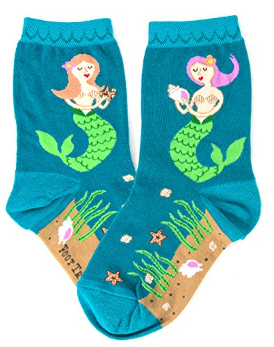 Foot Traffic - Mermaid Socks for Kids, Cute, Quirky & Comfortable, Teal (Kids Shoe Sizes 10-1Y, Ages 4-7)