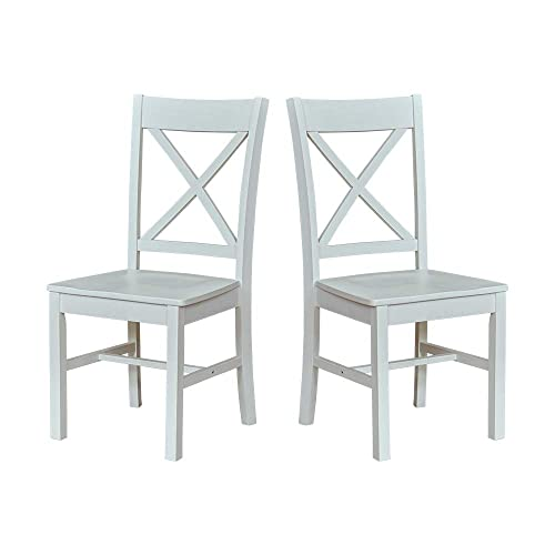 Ravenna Home Solid Pine Dining Chair with Cutout Back, 38 H, White Finish, Set of 2