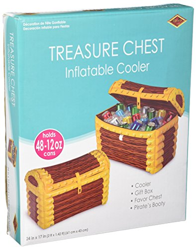 Inflatable Pirate (Inflatable Treasure Chest Cooler (holds apprx 48 12-Oz cans) Party Accessory  (1 count))