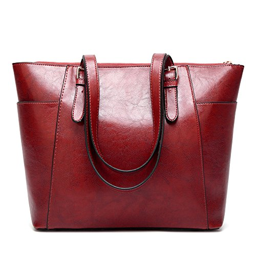 Leather Lady Bag Vintage Woman Shoulder Red Bag Satchel Lady Pu Multicolor Big Oil Messenger Wax 6ExF4