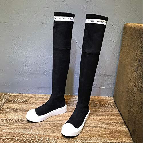 Shukun Stiefeletten Damenschuhe Herbst und Winter Dicker Sohle beiläufige Kniestiefel Martin Stiefel hohe Stiefel Damen Stiefel
