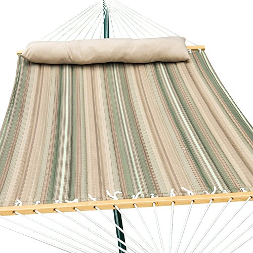 TOUCAN OUTDOOR Hammock Quilted Fabric with Pillow Double Size, Elegant Desert Stripe