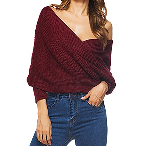 Dnude Jumper Longues Hauts Hiver Automne Jujube Chandail Col Pulls Tricots Sweater V Casual Femmes Tops Chemisiers Manches paule Blouse xHOqW6nOw