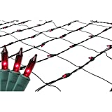 Sienna Red Mini Net Style Christmas Lights with Green Wire, 4' x 6'