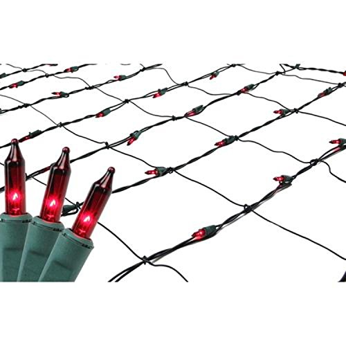 - Sienna Red Mini Net Style Christmas Lights with Green Wire, 4' x 6'