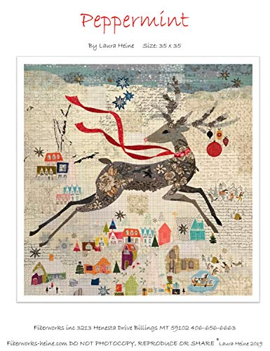 (Peppermint Reindeer Christmas Collage Applique Quilt Pattern by Laura Heine from Fiberworks Inc. 35
