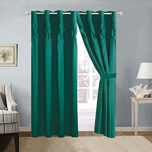 4 Piece Solid TEAL BLUE Double-Needle Stitch Pinch Pleat Grommet Window Curtain set 108 x 84-inch, 2 Panels and 2 Ties
