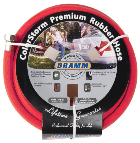 (Dramm 17001 ColorStorm Premium 50-Foot-by-5/8-Inch Rubber Garden Hose, Red)