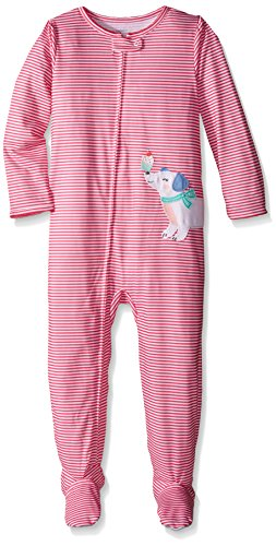 Carter's Little Girls' Striped Graphic Footie (Toddler) - Dog with Cupcake - 2T ()