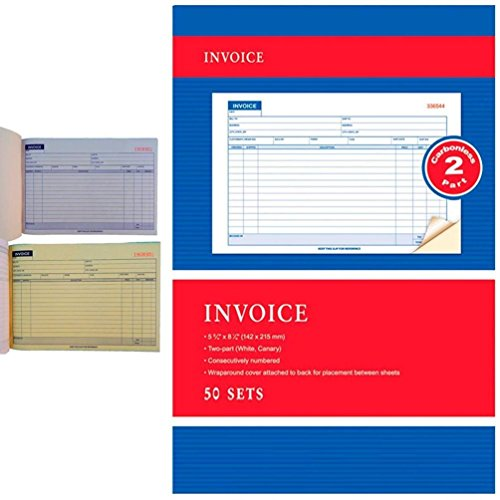 Books Carbonless Numbered All Purpose - Carbonless Invoice Receipt Record Book 2 Part 50 Sets Duplicate Receipt Copy