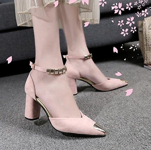 Palabra hebilla gruesa con sandalias hembra salvaje señaló zapatos de gamuza B