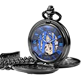 ManChDa Vintage Reindeer Pocket Watch Black Hollow Case Double Open Skeleton Mechanical for Men Women