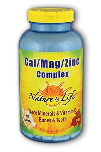 Nature's Life Cal/Mag/Zinc , 1000/600/15 Mg,Trace Mineral & Vitamin D,  250 Tablets