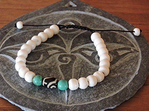 Hands Of Tibet Tibetan Mala Yak Bone Wrist Mala/Bracelet for Meditation (Dzi bead with turquoise)