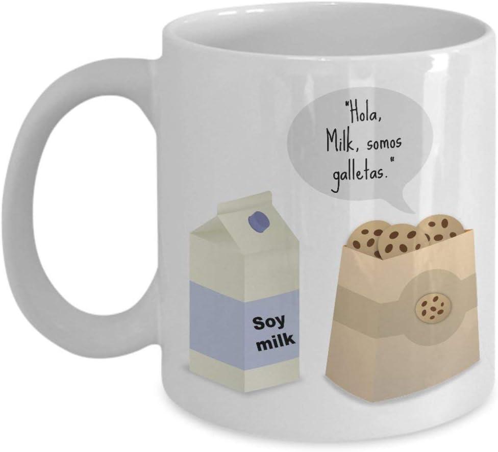 Taza española Leche de soja. Regalo divertido de la taza de café ...
