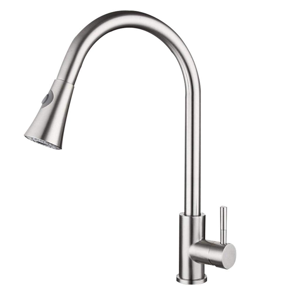 Kitchen Hot and Cold Pull-Down Faucet Sink Basin Pull Three-Way Faucet Magnetic Docking Spray Way