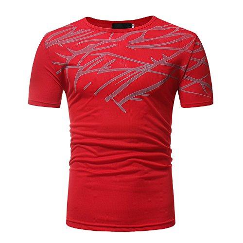 Manche Hommes Rouge shirt Top Courte Casual Été Impression Amlaiworld Fit Blouse T Slim UY7wYqpE