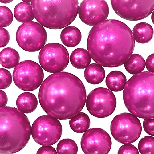 Floating Hot Pink/Fuchsia Pearls- Jumbo/Assorted Sizes Vase Decorations + Includes Transparent Water Gels for Floating The ()