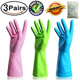 #2: Kitchen Rubber Cleaning Gloves Dishwashing Clean Latex Glove Reusable with Household Powder Free (3 Pairs Medium)