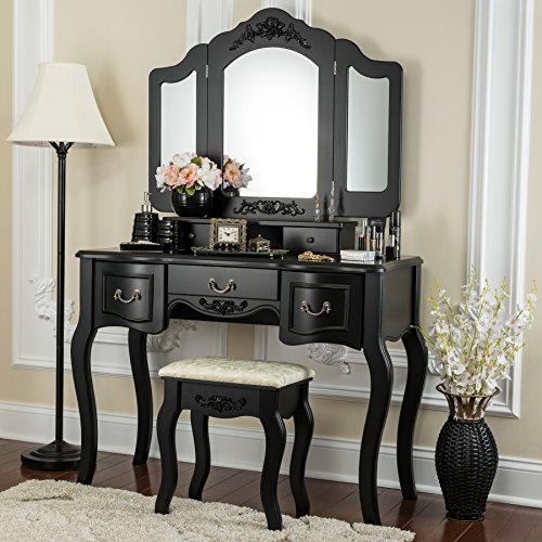 Fineboard FB-VT04-BK Vanity Set Beauty Station Makeup Table and Wooden Stool Set with 3 Mirrors and 5 Organization DrawersSet, Black