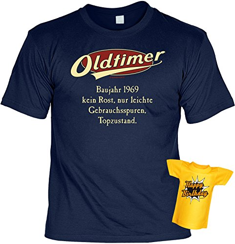 Modisches Herren Fun-T-Shirt als ideale Geschenkeidee im Set zum 47. Geburtstag + Mini Tshirt Jahrgang 1970 Farbe: navy-blau