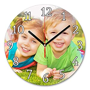 LaMAGLIERIA Reloj de Pared Personalizado con tu propria Foto - Reloj de Pared en Vidrio - Redondo Diámetro 20cm 3