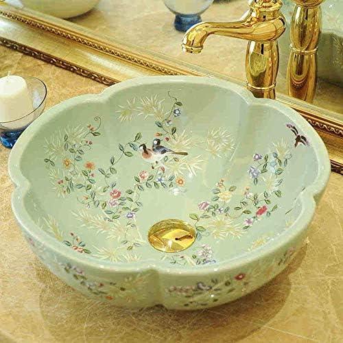 ZKS-KS 工場直接芸術の手は塗装セラミック洗面台のシンクの花と鳥セラミック洗面台のバスルームのシンク