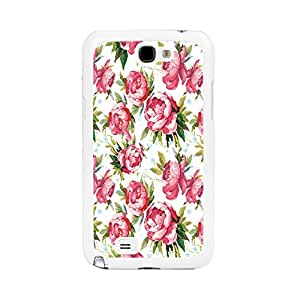 Hipster Design Pink Rose Flowers Pattern Hard Case Cover for Samsung Galaxy Note 2