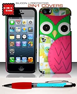 Accessory Factory(TM) Bundle (the item, 2in1 Stylus Point Pen) iPhone 5 (AT&T Verizon Sprint Cricket) Silicon Case + Rubberized Design Cover Protector - Owl SCDP Soft Silicone Jelly Rubber Skin Phone