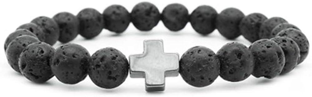 AIUIN 1X Pulsera de Piedra Natural de Chakras Cruz Pulsera de Amuleto Piedras de Oracion de Reiki Abalorios de Lava Chakras Pulseras
