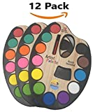 12 Pack - Watercolor Paint Set - Each Palette Contains 12 Different Vibrant Colors, a Paint Brush and a Mixing Pan built into the Palette