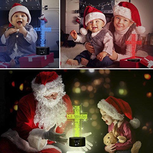 Jesus Easter Cross 3D LED Optical Illusion Lamps, Rquite 7 Color Change Touch Switch Art Sculpture Lights LED Desk Table Night Light Awesome Gift