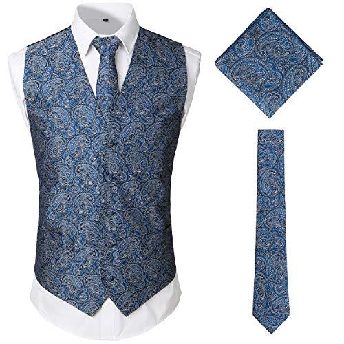 (JOGAL Men's 3pc Paisley Vest Necktie Pocket Square Set for Suit or Tuxedo X-Large SV08 RoyalBlue)