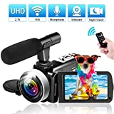 Camcorder Video Camera, 2.7K Vlogging Camera for YouTube WiFi Ultra 24MP 16X Digital Zoom Camcorder with Microphone 3.0 Inch Touch Screen Support Night Vision (BLACK06)
