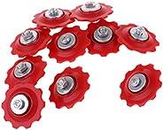 Prettyia 10Pcs Derailleur Pulleys Plastic,Steel 10T Sealed Bearing Jockey Wheel Rear Derailleur Pulleys for Ro