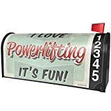 NEONBLOND I Love Power Lifting, Vintage Design Magnetic Mailbox Cover Custom Numbers
