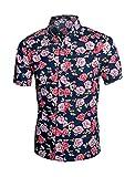 Allegra K Men Collared Short Sleeves Floral Slim Fit Shirt Multicolor XL