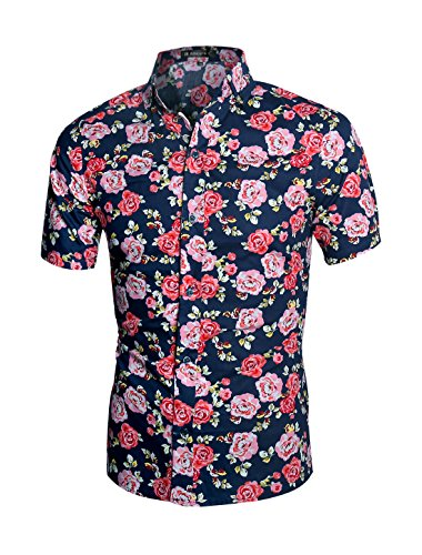 uxcell Men Floral Print Slim Fit Short Sleeve Button Down Beach Hawaiian Shirt (US 42) Large Navy Pink