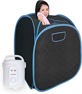 Smartmak Portable Sauna Kit, one Person Full Body at Home Spa Hat Tent, Include 1.8L Steamer with Herbal Box for Detox & Weight Loss US Plug- Black