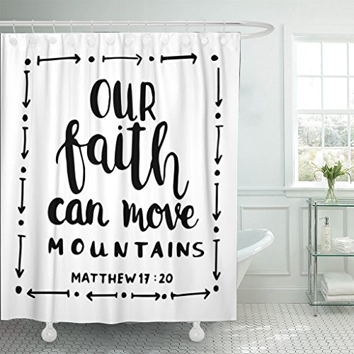 TOMPOP Shower Curtain Our Faith Can Move Mountains on White Bible Verse Hand Lettered Quote Modern Calligraphy Christian Waterproof Polyester Fabric 72 x 72 inches Set with Hooks by TOMPOP