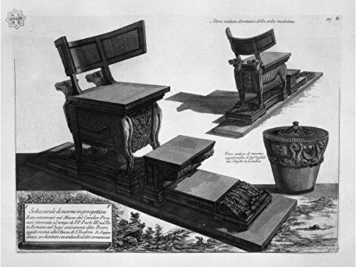 Curule Chair of Marble Found at The Rostra in The Roman Forum, and a Marble vase by Giovanni Battista Piranesi