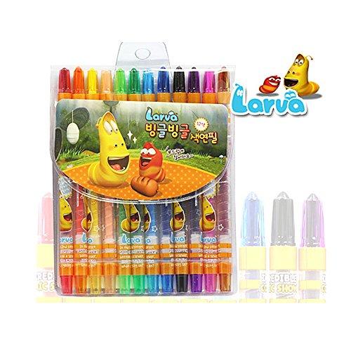 Larva Korean Cartoon Animation Character Twistable 12 colors Colored Pencils