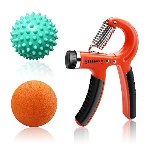 Efay Massage Ball Hand Grip Strengthener Lacrosse Spiky Ball Set for Myofascial Release, Muscle Therapy, Hand Exerciser, Strength Trainer (3-PACK)