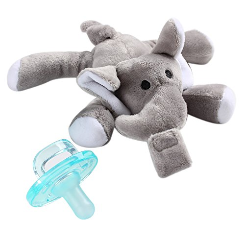 - Youly Baby Pacifier,Elephant Pacifier Infant Toy Stuffed Animal Binky Soft Plush Toy with Detachable Silicone Baby Dummy for Newborn Boys & Girl