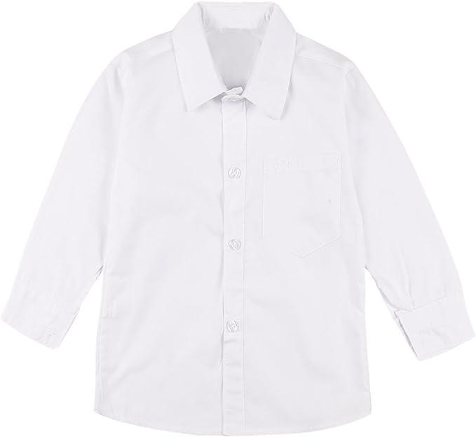 TiaoBug Camisas Blancas Niños Chicos de 2-20 Años Manga Larga Blusa Formal Escolar Escuela Disfraces Niños Costume Cosplay de Caballero Camiseta Algodón Verano: Amazon.es: Ropa y accesorios