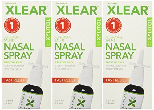 XLEAR Nasal Spray, 1.5 oz. (3 Pack) Natural Saline and Xylitol Moisturizing Sinus Care - Immediate and Drug Free Relief From Congestion, Allergies, and Dry Sinuses