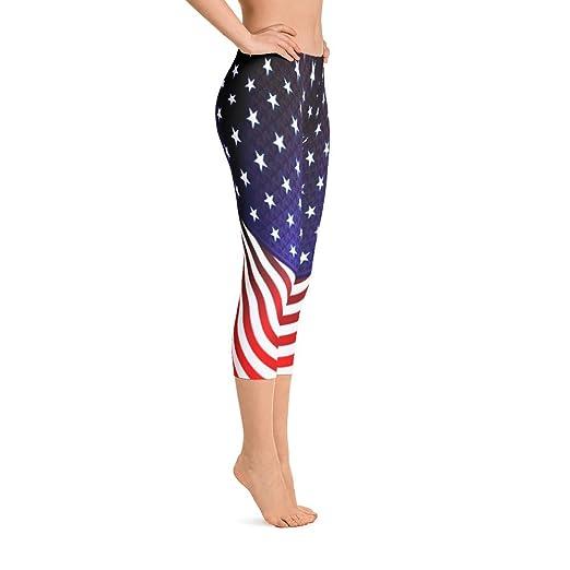 c72951a10354 Image Unavailable. Image not available for. Color  Vinson MFG Capri Leggings  Women USA Flag 4th of July Capri Leggings Yoga Pants