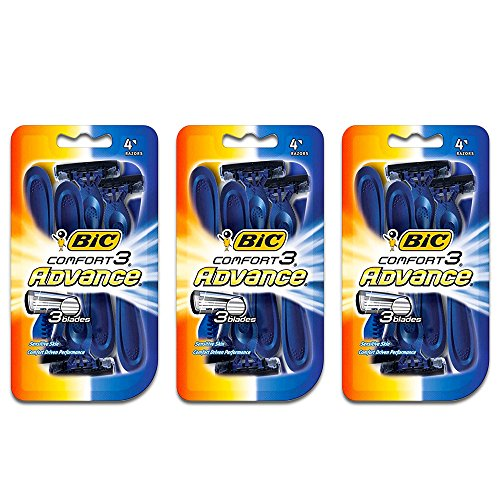 BIC Comfort 3 Advance Disposable Razor, Men, 4-Count (Pack of 3)