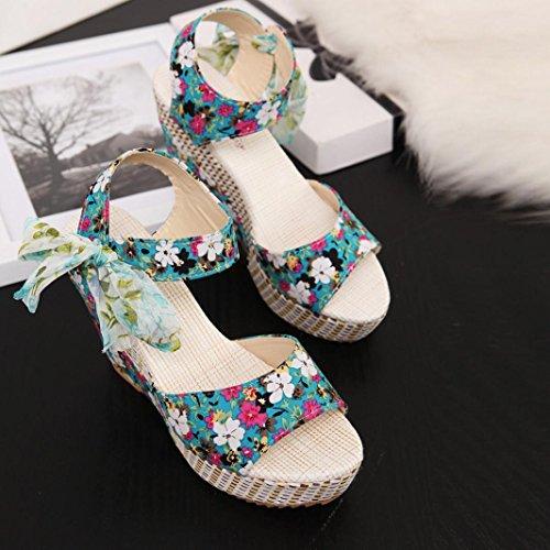 Deesee (tm) Moda Mujer Verano Pendiente Con Chanclas Sandalias Mocasines Zapatos Verde
