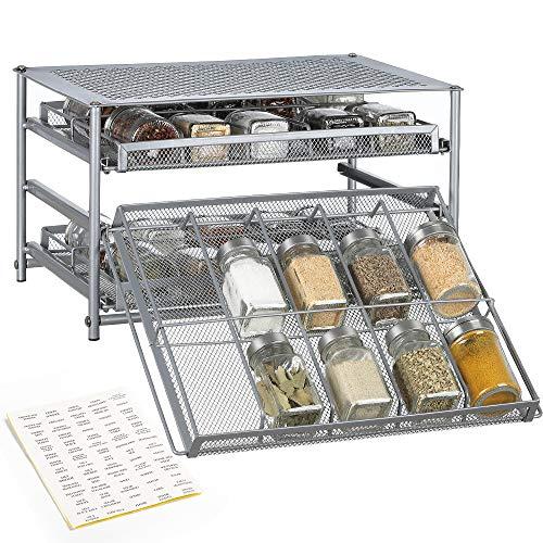 - NEX Spice Rack 3 Tier 30-Bottle Spice Drawer Organizer for Pantry Kitchen Cabinet, Metal
